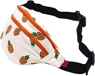 LParkin Fanny Pack Pineapple Hip Bag Waist Bag Canvas Bum Belt Hip Pouch Bags Purses Festival