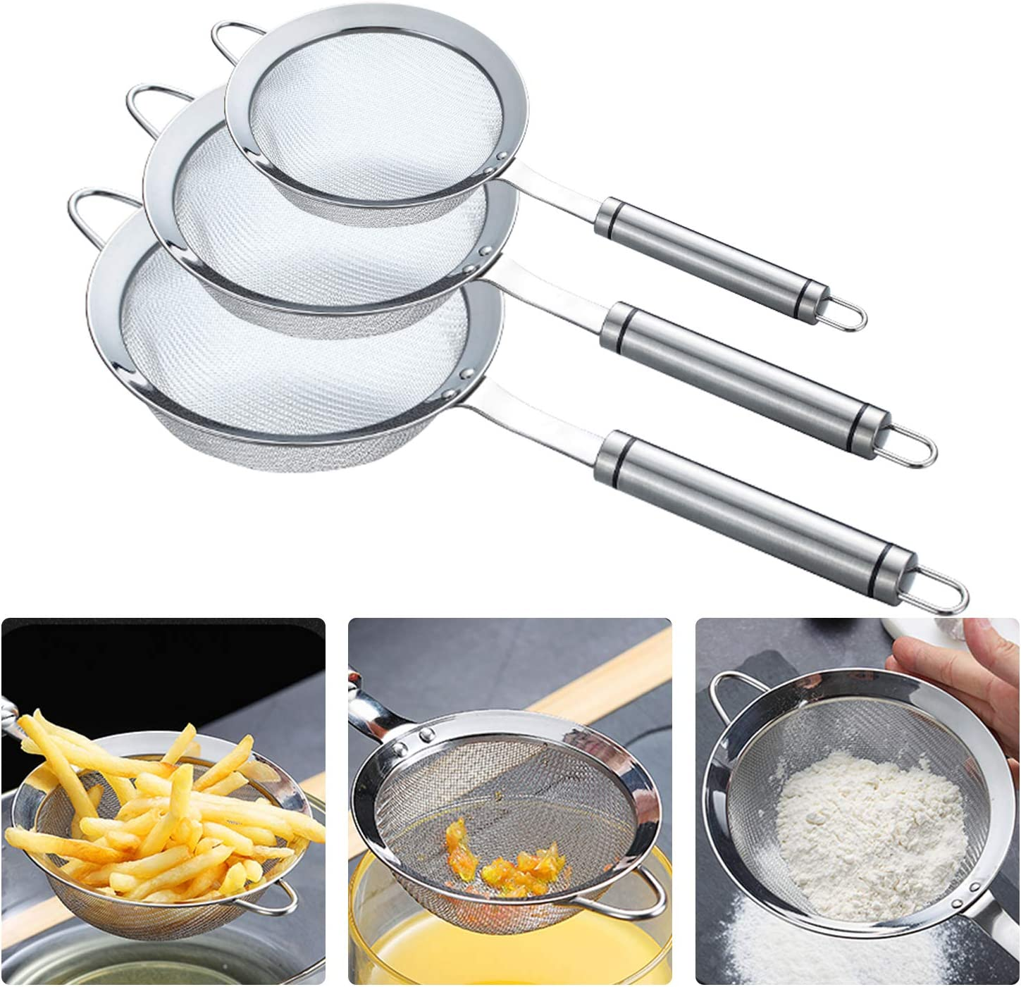 3pcs Mini Fine Mesh Stainless Steel Strainers Set - Premium Quality Kitchen Food Fine Mesh Strainer Colanders Sieve Sifters with Comfortable Non Slip Handles