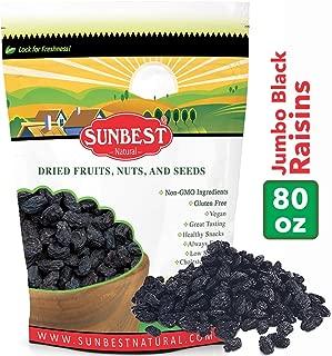 SUNBEST Seedless Black Jumbo Raisins in Resealable Bag … (5 Lb)