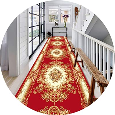 Hallway Long Runner Rugs Corridor Carpet Nordic Style Blue and Red Bottom Design 8MM Thick Non-Slip Mat Ideal for Living Room Bedrooms and Corridors (Color : B, Size : 0.6X3M)