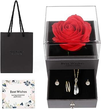 Mitening Rose Eternelle avec Boîte à Bijoux, Rose Eternelle sous Cloche Con Carte de Voeux, Fleur Eternelle pour la Saint-Val