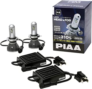 PIAA ヘッドライト/フォグライト用 LEDバルブ H4 6000K 74000cd 2800lm相当※ 車検対応 12V/24V共用 15/15W スタンダード・ ロングビーム高速走行向け LEH110