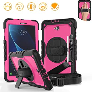 DUNNO Samsung Galaxy Tab A 10.1 Case - Heavy Duty Rugged Full Body with Built-in Kickstand & Built-in Screen Protector Shockproof for Galaxy Tablet SM-T580 T585 T587 (Black/Pink)
