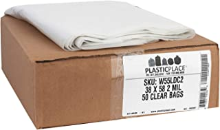 "Plasticplace 55-60 gallon Trash Bags │ 2 Mil │ Clear Heavy Duty Garbage Can Liners │ 38"" x 58"" (50Count)"