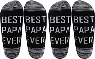 LEVLO Papa Gift Best Papa Ever Socks Father's Day Gift for Dad Uncle Grandpa Mens Birthday Gift