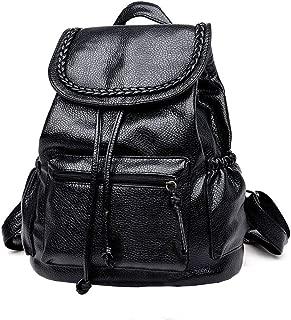PU Leather Vintage Women Lady Travel Backpack Rucksack Shoulder Bag Braid Satchel Handbag,Mini Backpack Girls Backpack Fashion Backpack Lightweight School Bag Black