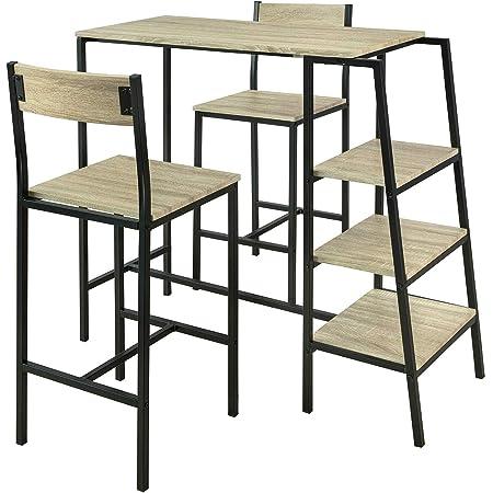 SoBuy® OGT16-N Set de 1 Table + 2 Chaises Ensemble Table de Bar Bistrot + 2 Tabourets de Bar avec Repose-Pieds Table Haute Cuisine Mange-Debout avec 3 Étagères Latéraux