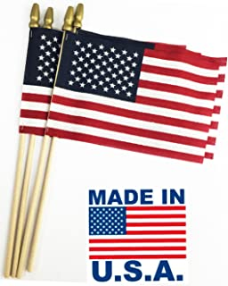 Best GIFTEXPRESS Set of 12, Proudly Made in U.S.A. Small American Flags 4x6 Inch/Small US Flag/Mini American Stick Flag/American Hand Held Stick Flags Spear Top Reviews