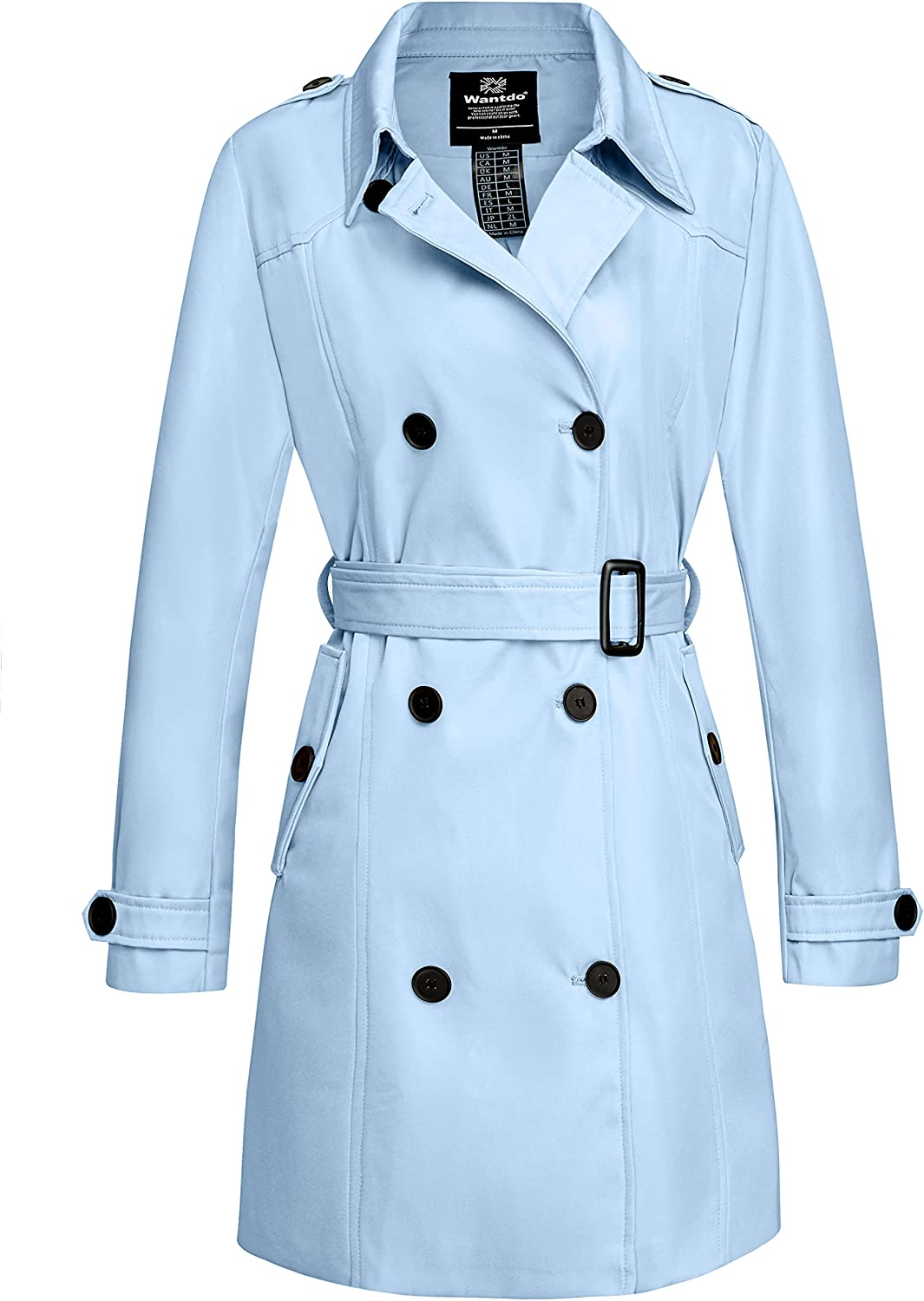 Wantdo Women's Waterproof Double-Breasted Coat La Trench Max 44% OFF Genuine Classic
