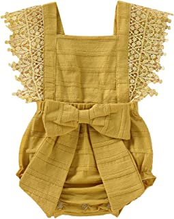 Newborn Baby Ruffle Romper Lace Sleeveless Bodysuits Bowknot Tassels Jumpsuit Sunsuits Summer Outfits