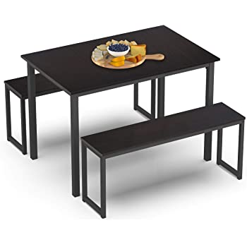 HOMURY 3 Piece Dining Table Set Breakfast Nook Dining Table with Two Benches,Espresso
