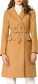 Allegra K Women's Double Breasted Chevron Grain Belted Shawl Collar Lapel Worsted Coat