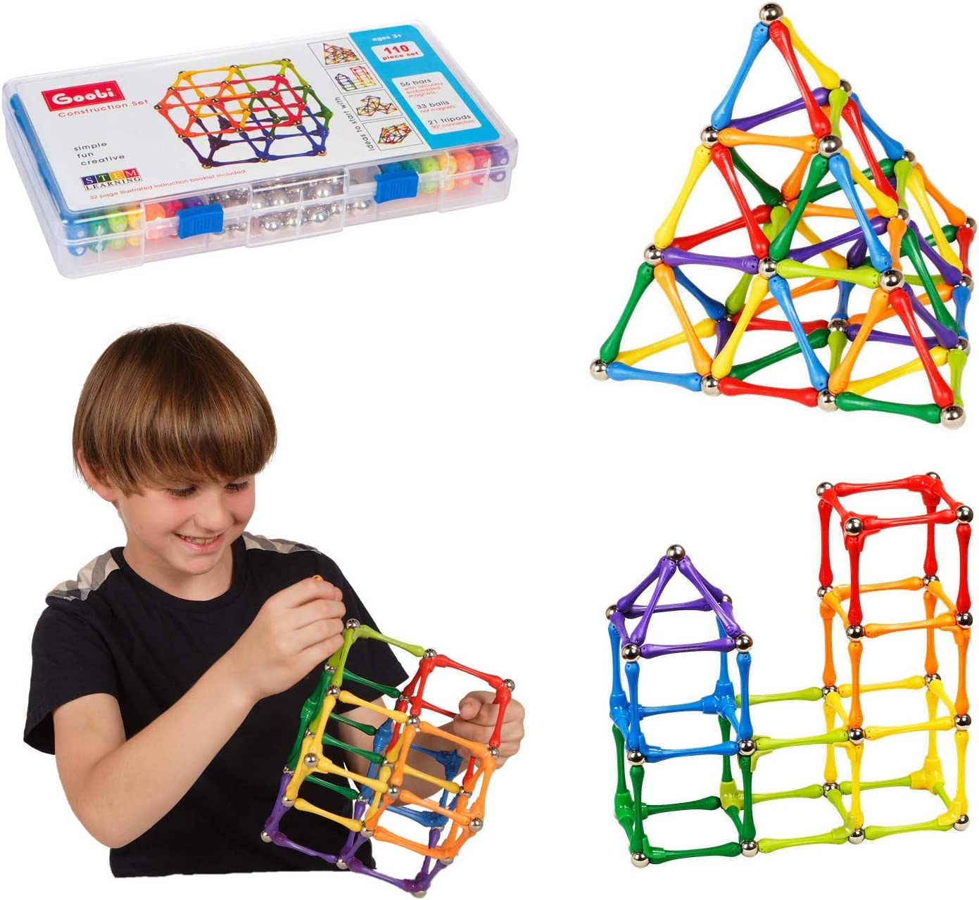 1 year warranty Goobi 110 Piece Construction Set Toy Active Play Building Max 85% OFF Sticks