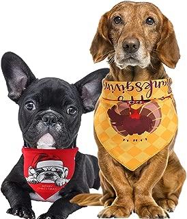 ASOONYUM Reversible Dog Bandana, Halloween Christmas Puppy Scarf - Triangle Turkey Pet Saliva Bibs Double Sided 2 Pattern Red & Gold for Small/Medium/Large Cat, 2PCS
