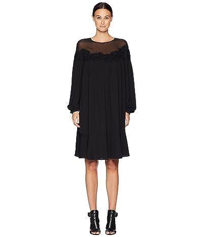ESCADA Daffru Sheer Overlay Long Sleeve Dress (Black) Women