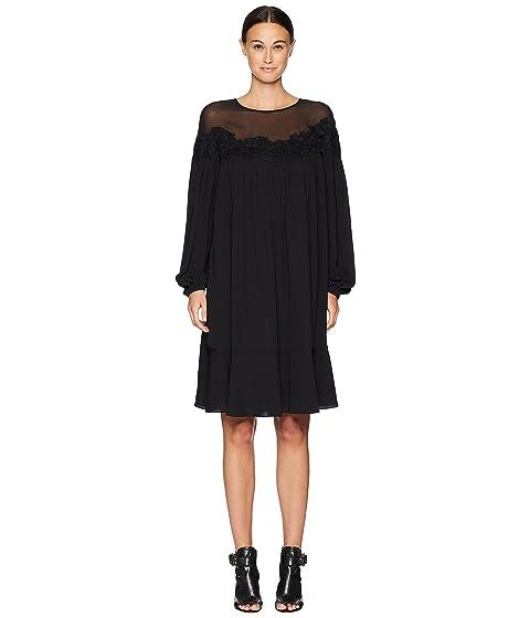 ESCADA Daffru Sheer Overlay Long Sleeve Dress