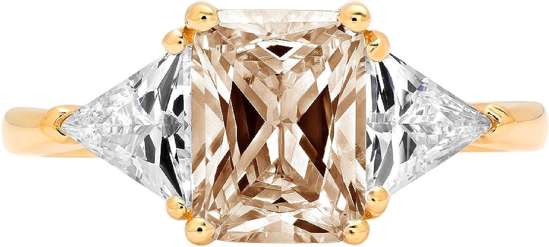 Clara Pucci Popular brand 3.1 ct Emerald free shipping Trillion Accent 3 cut Solitaire stone