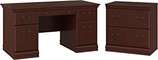 Bush Furniture Birmingham 60W Executive Desk with Lateral File Cabinet in Harvest Cherry