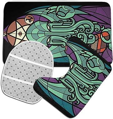 SXCVD Cthulhu's Church Fashion Bathroom Rug Mats Set 3 Piece Anti-Skid Pads Bath Mat + Contour + Toilet Lid Cover
