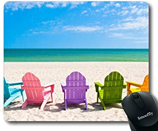 Smooffly Gaming Mouse Pad Custom,Adirondack Beach Chairs on a Sun Beach Holiday Vacation Travel House Mouse Pad