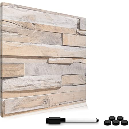 Navaris Memo Board Lavagna Magnetica 40x40cm - Lavagnetta Scrivibile Cancellabile con 1x Pennarello e 5X Calamite - Bacheca Design Black Stone Wall