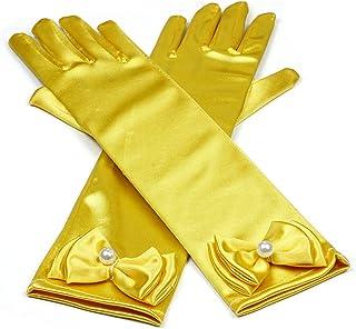 RUNHENG Kids Stretchy Satin Long Finger Dress Gloves, 11.4 Inch (Golden Yellow)