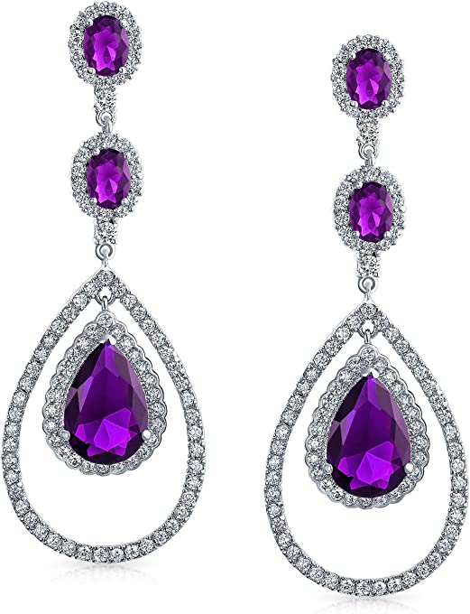Purple CZ Fashion Big Teardrop Chandelier Statement Earrings For Women For Prom Pageant Simulated Amethyst Silver Plated
