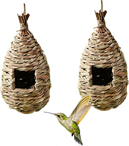 discount OPTIMISTIC lowest Hummingbird Bird House Nest Outdoor Hanging Birdhouse Bird Nest Hand-Woven sale Roosting Pocket Sparrow House for Finch Canary, Pack of 2 online