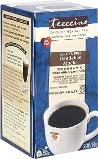 Teeccino Dandelion Mocha Chicory Herbal Tea Bags,Caffeine Free, Acid Free, Prebiotic Coffee Substitute, 25 Tea Bags
