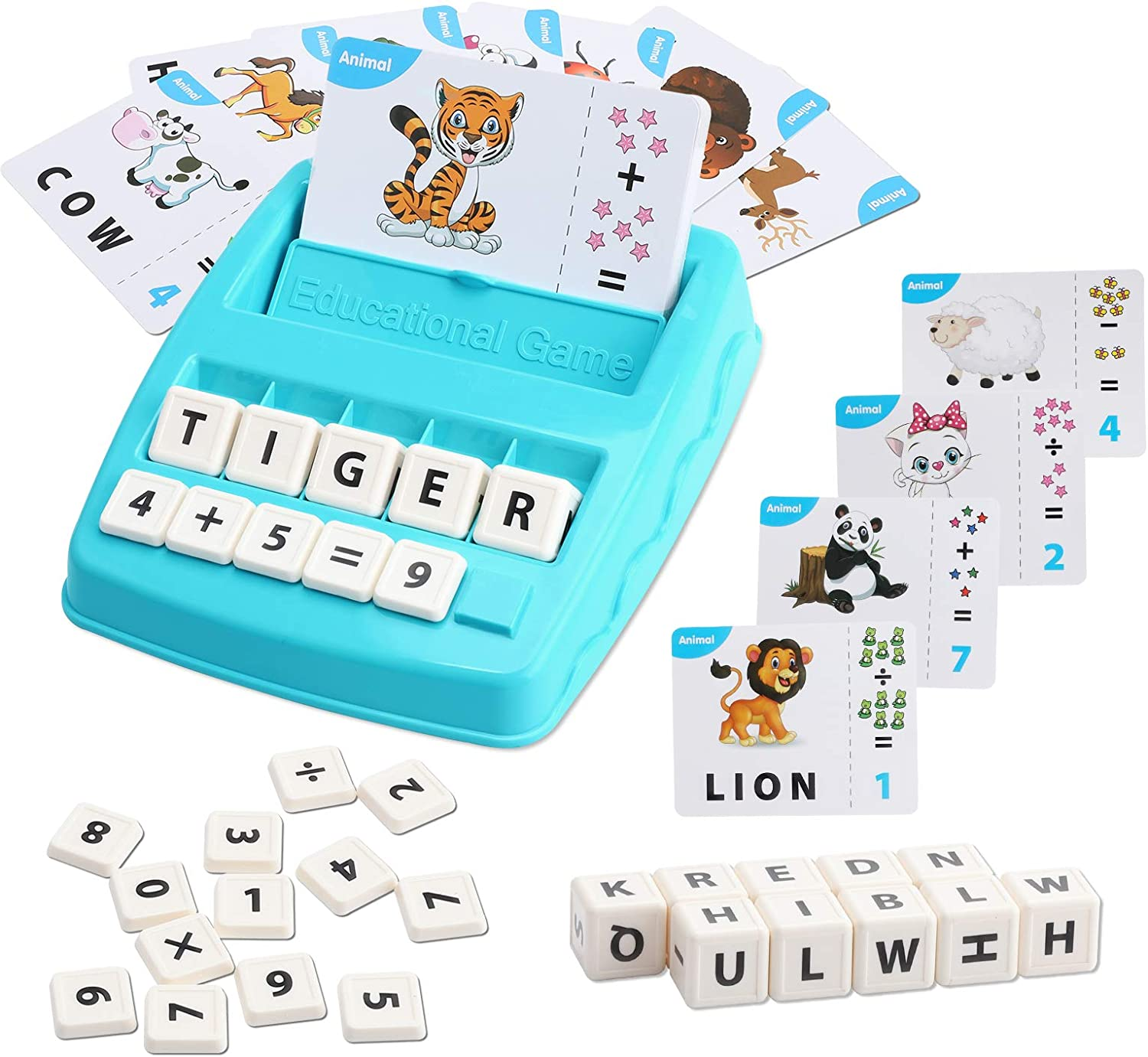 Blue WOMIR Educational Spelling Game Matching Letter Games for Kids Ages 3-8 Year Preschool Reading Learning Toys Alphabet Math Sight Word Kindergarten Memory Game Flash Cards for Toddlers