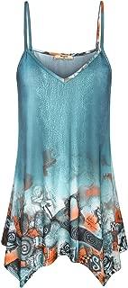 Miusey Womens Handkerchief Hem Flowy Top Casual Summer Spaghetti Strap Camisoles Tank