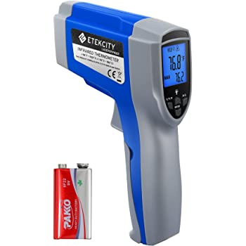 Etekcity 1022 Digital Laser Infrared Thermometer Temperature Gun Non-contact -58℉~1022℉ (-50℃ ~ 550℃) with Adjustable Emissivity & Max Measure for Meat Refrigerator Pool Oven, Blue (Not for Human)