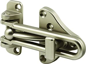 Defender Security U 11316 Swing Bar Door Guard With High Security Auxiliary Lock, Satin Nickel Finish, 1-Pack