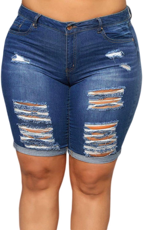 Laeyzuo Women's Plus Size Denim Shorts High Waisted Ripped Folded Hem Summer Jean Shorts