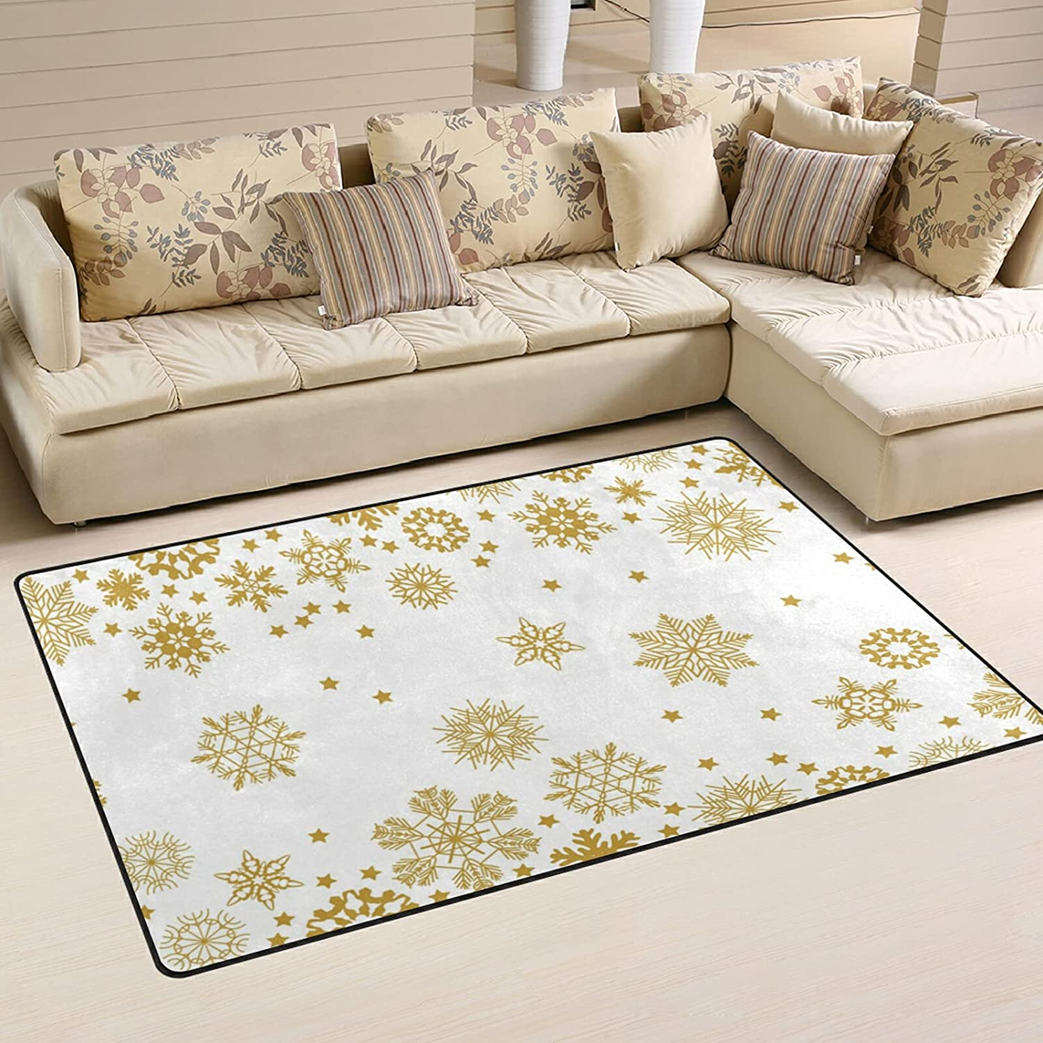 Christmas Gold Snowflake Large Safety and trust Soft Playmat Rugs 5 popular Ru Area Nursery