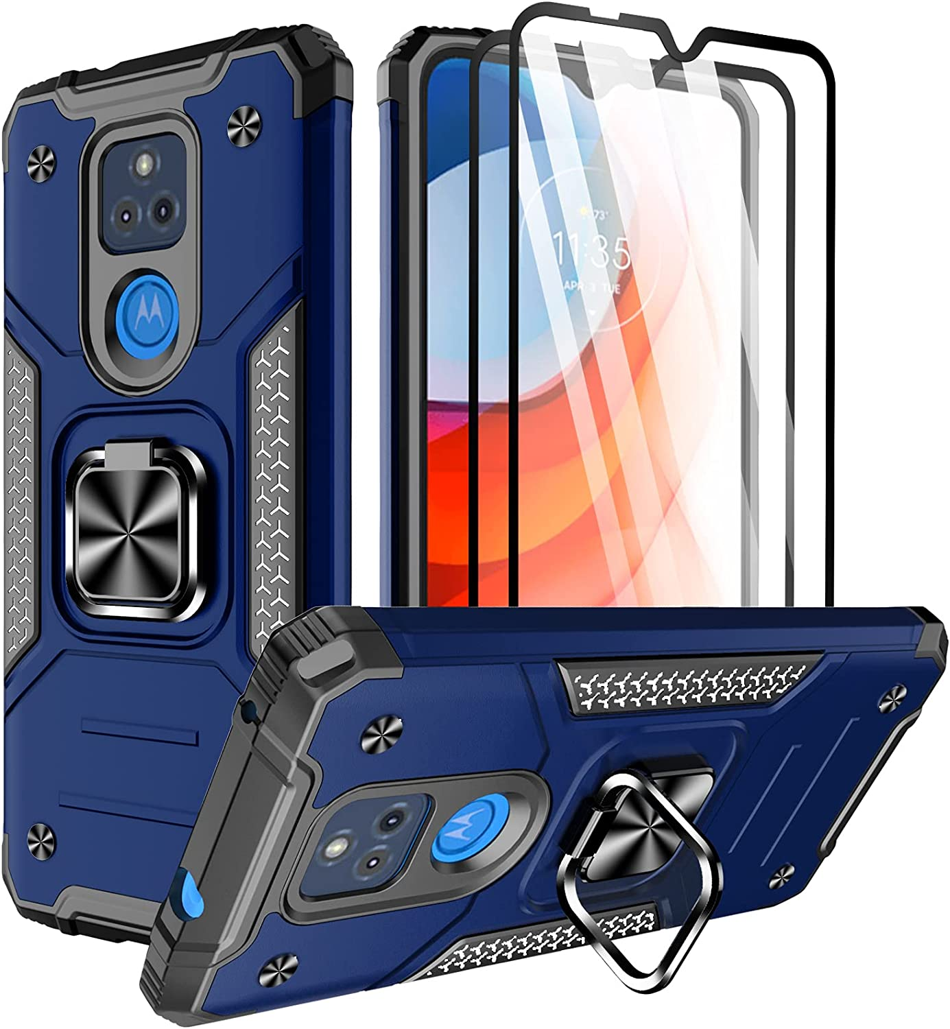 ChacXXLI for Moto G Play 2021 Case, Moto G Play Case with [2 Pack] Tempered Glass Screen Protector, Rotating Ring Kickstand Shockproof Impact Resistant Phone Case for Motorola G Play 2021 - Blue