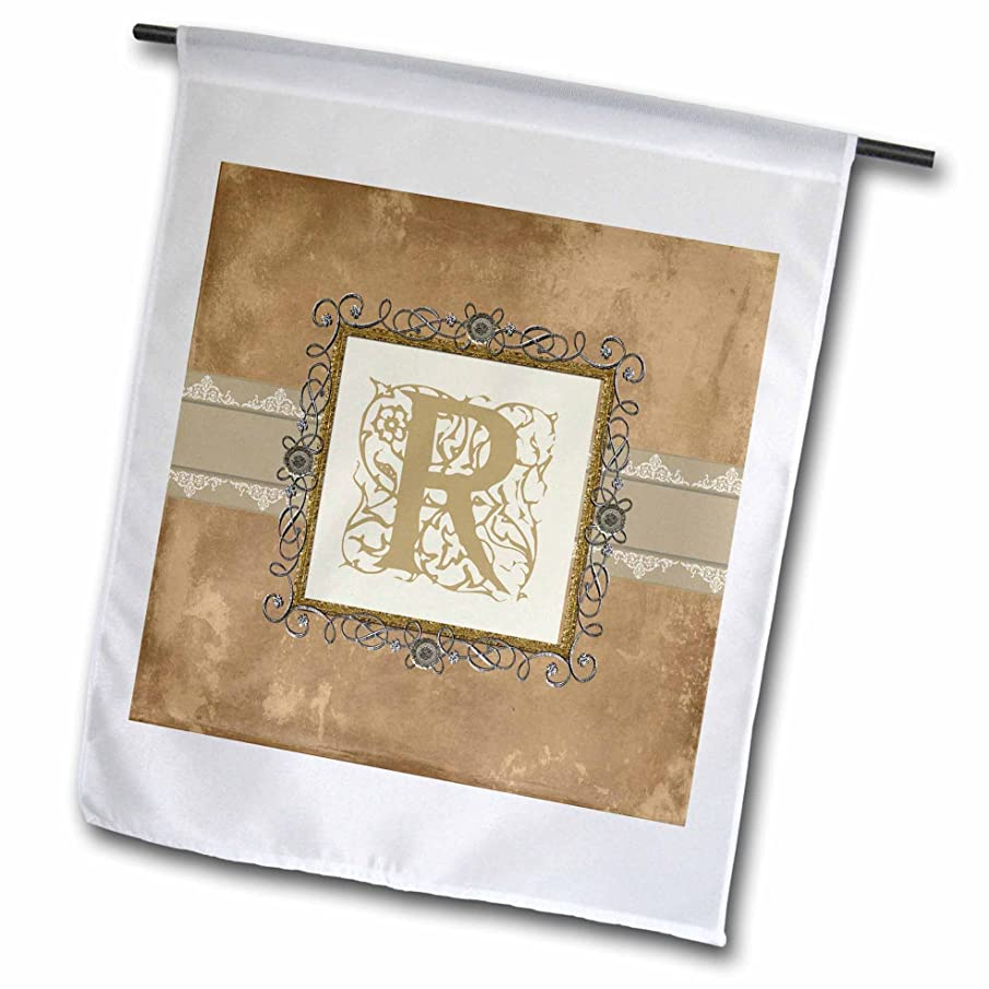 3dRose fl_186364_1 R Initial Vintage Elegant Vines and Flowers in Sepia and Pewter Look Garden Flag, 12 by 18-Inch