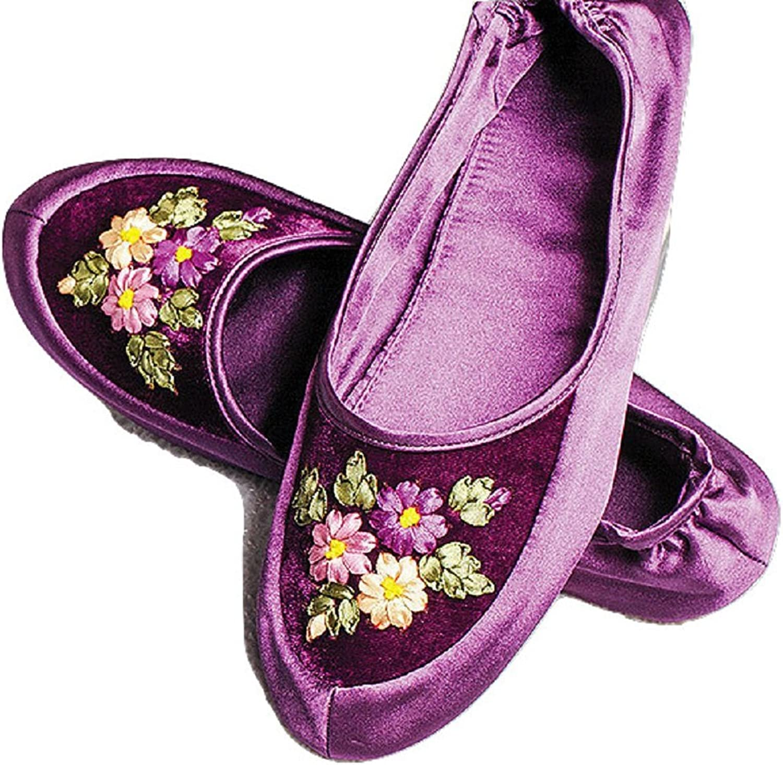 Smithsonian Foldable Ribbon Flower Slippers Black Teal or Purple