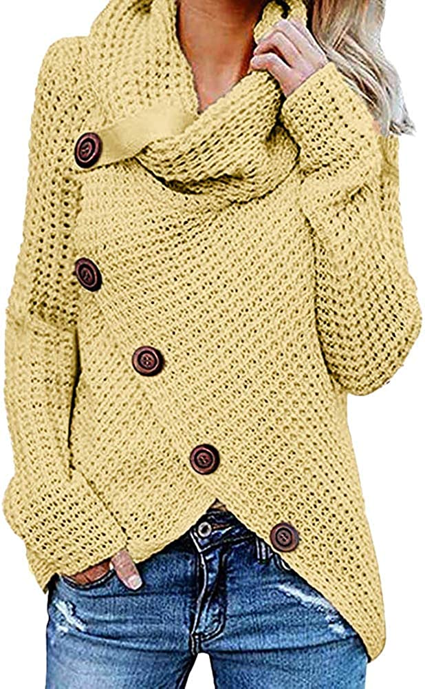 Ulanda Women's Turtle Cowl Neck Asymmetric Hem Wrap Sweater Button Long Sleeve Chunky Knitted Pullover Top
