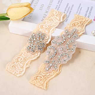 34ba9a3ec FANGZHIDI Sliver Rhinestones Flesh Color and White Lace Wedding Bridal  Garter Belt Set (Light Yellow