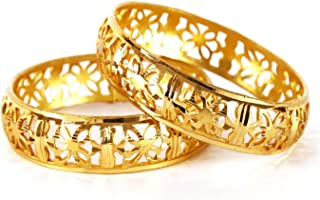 Queen' Collection Traditional Indian Woman KADA 18K Gold Plated Bollywood Bracelet Wedding Brida lWear Fashion Jewelry 2 B...