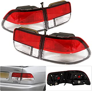 For Honda Civic Ej Coupe 2 Door Red Clear Tail Light Brake Lamp 4 Pieces Jdm Replacement