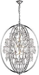 ANJIADENGSHI Modern Globe Crystal Chandeliers 9-Light Chandelier Lighting Metal Globe Pendant Lighting Fixture with Adjustable Hanging Light Fixture for Dining Living Room Foyer Bedroom, Chrome