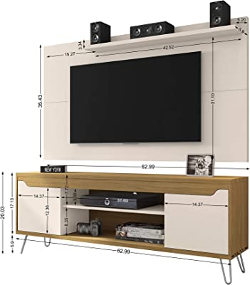 """Manhattan Comfort Baxter Mid-Century Modern TV Stand and Liberty Panel with Media and Display Shelves, 62.99"""", Off White/Cinnamon"""