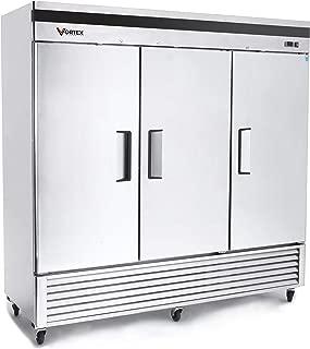 Vortex Refrigeration Freezer 3 Solid Door Commercial Stainless Steel - 72 Cu. Ft.
