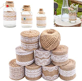 SGHUO 8Pcs Burlap Ribbon Lace Roll with 164 Feet Jute Twine 17.5 Yards/630 inches Wired Burlap Ribbon for Wedding Decorati...
