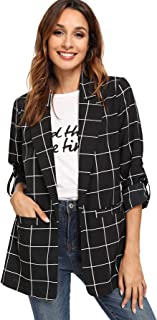 Milumia Women's Open Front Blazer Casual Lightweight Plaid Roll Up Sleeve Jacket Shirt
