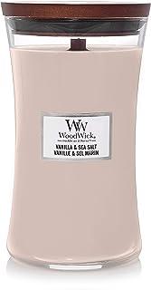 WoodWick - Vela aromática (aroma a parafina vainilla y sal de mar cristal de horario grande)