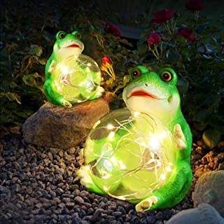 Garden Decor Adorable Frog Garden Sculptures & Statues Perfect Yard Art Gift Outdoor Decorations for Patio with Cosy Solar...
