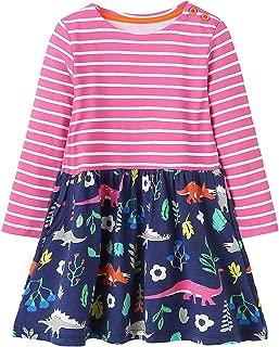Kid Girl Christmas Dress Cotton Printed Striped Casual Cute Tunic Shirt